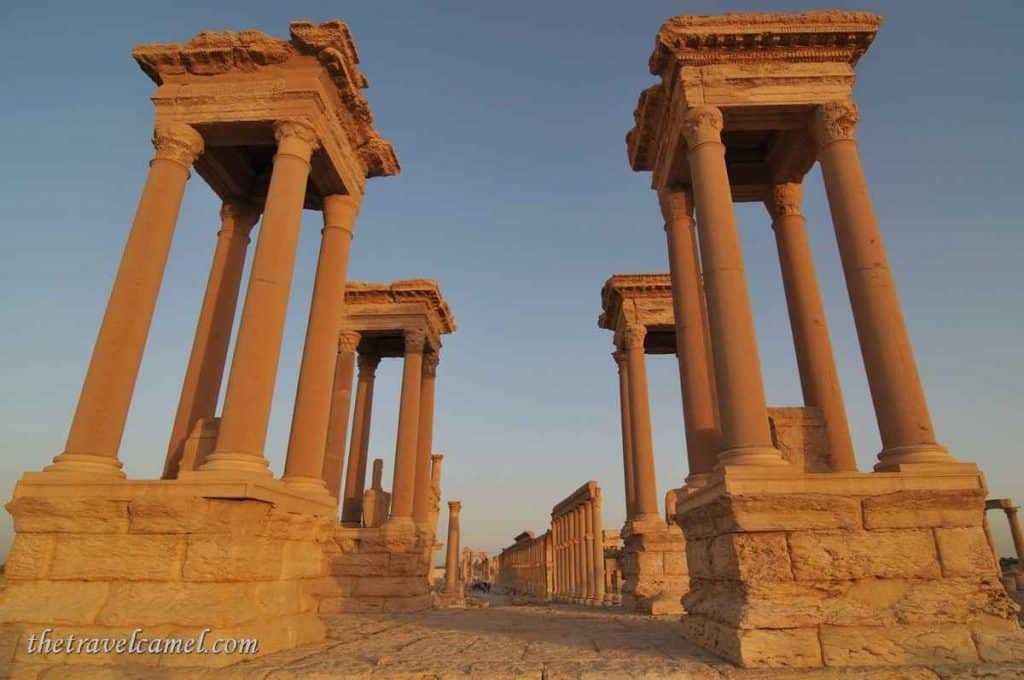 Palmyra's Tetraplyon at sunset - Syria