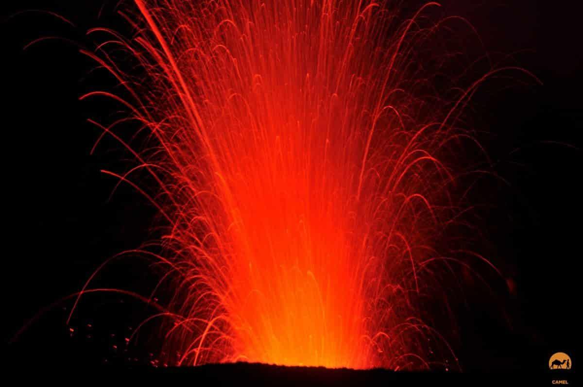 A fiery night eruption at Mt Yasur Volcano - Tanna Island, Vanuatu