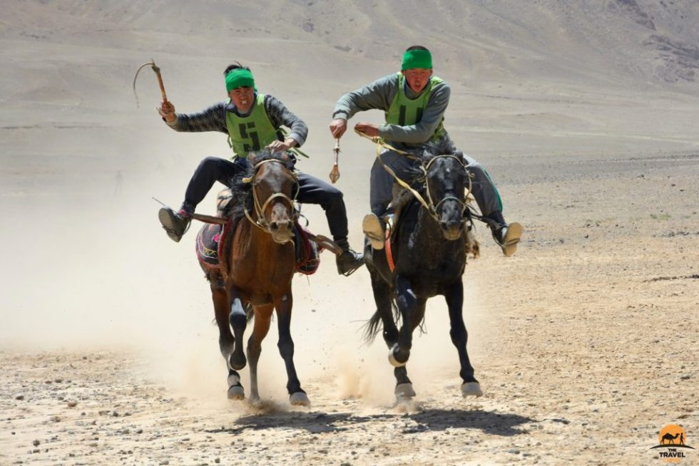 Close Finish At Horse racing - At Chabysh festival, Murghab, Tajikistan