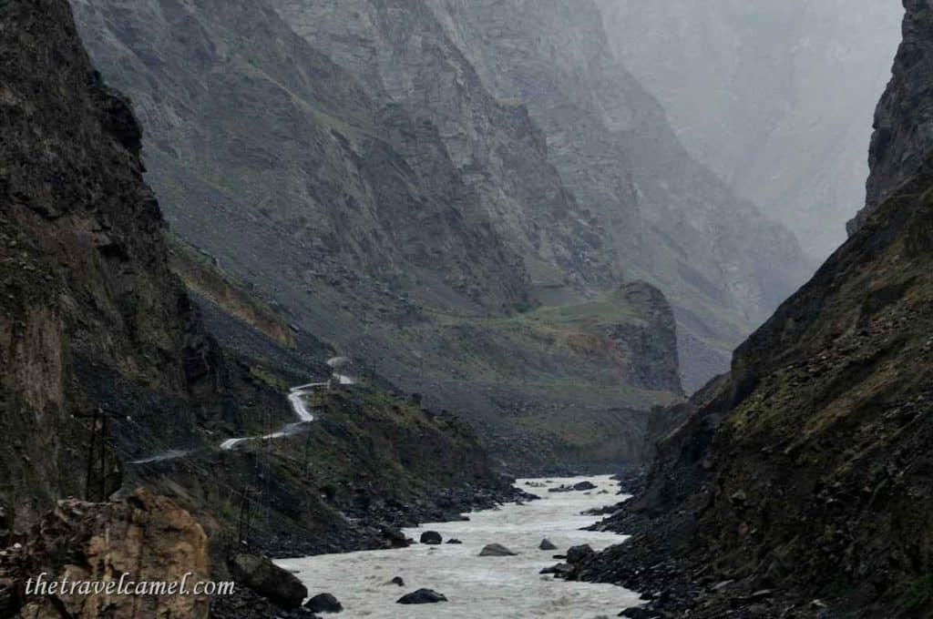 Winding road by Panj River - Tajikistan