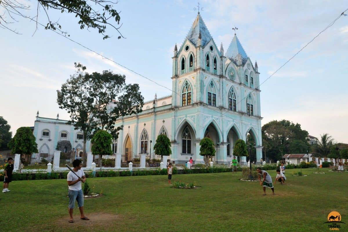 Game of Baseball in Front of the San Vicente Ferrer Church Calape - Bohol, Philippines