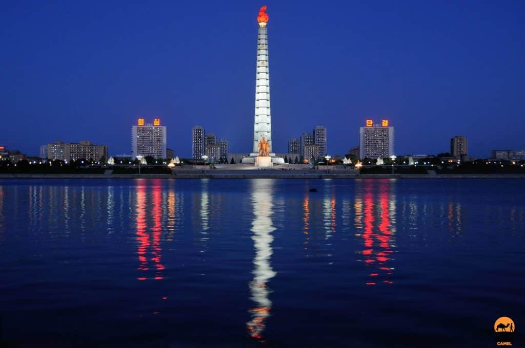 Juche Tower Reflection on the Taedong River - Pyongyang, North Korea (DPRK)