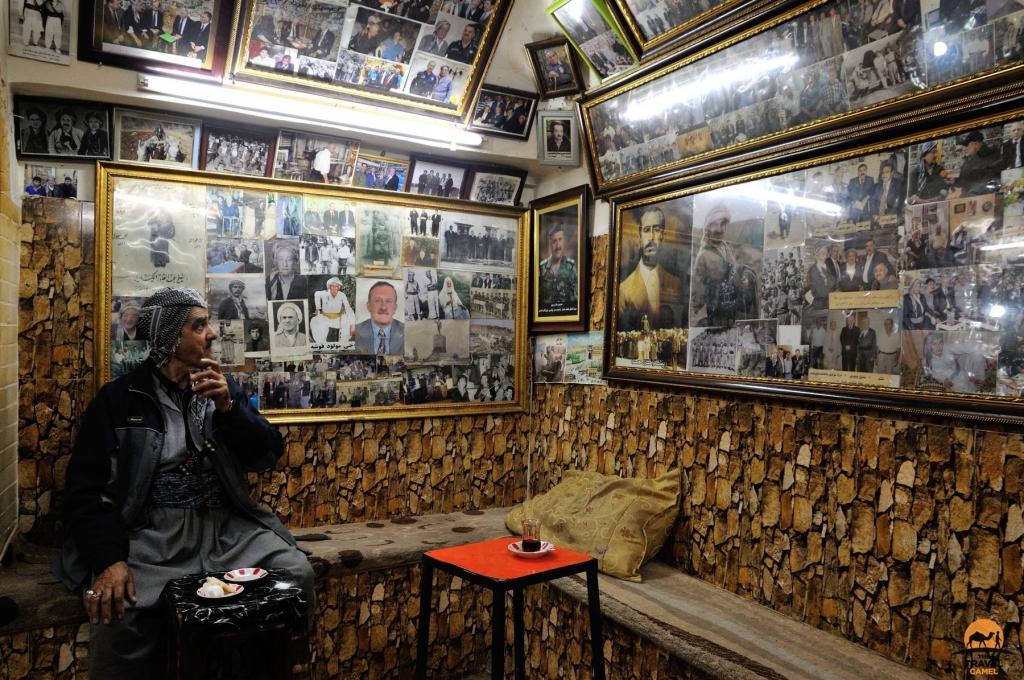 Rashid Scans The Wall In a Tea House - Qaysari Bazaar, Erbil, Kurdistan